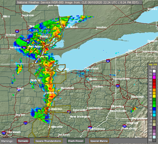 Radar Image for Severe Thunderstorms near Mansfield, OH at 6/10/2020 6:28 PM EDT