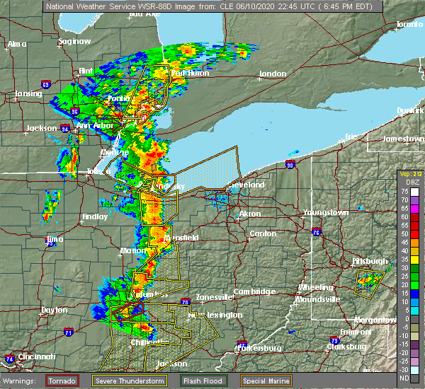 Radar Image for Severe Thunderstorms near Oberlin, OH at 6/10/2020 6:49 PM EDT