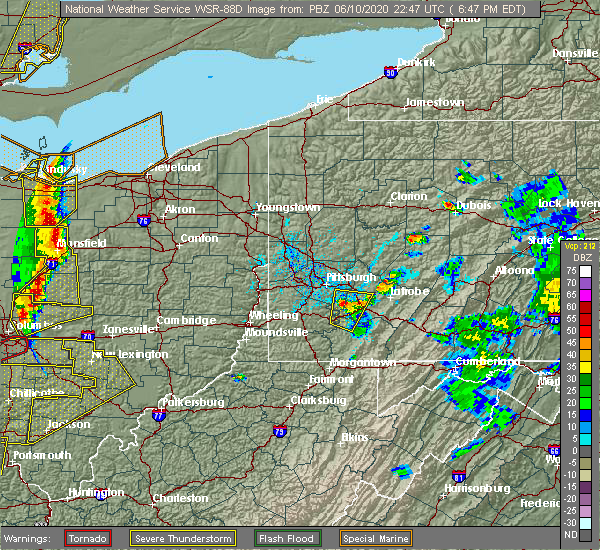 Radar Image for Severe Thunderstorms near Jefferson Hills, PA at 6/10/2020 6:50 PM EDT