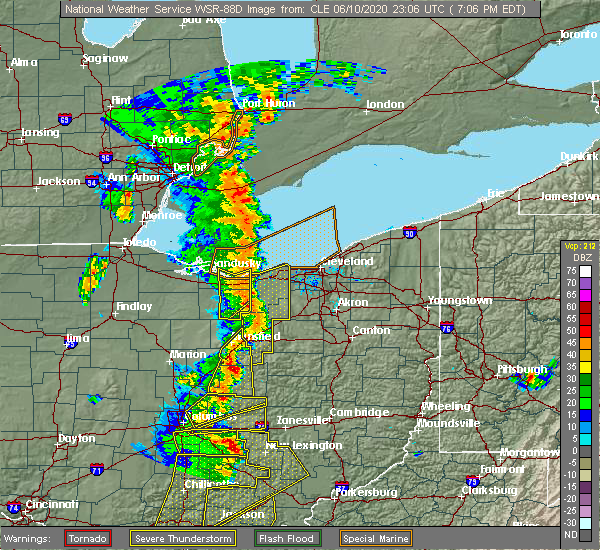 Radar Image for Severe Thunderstorms near Mansfield, OH at 6/10/2020 7:08 PM EDT
