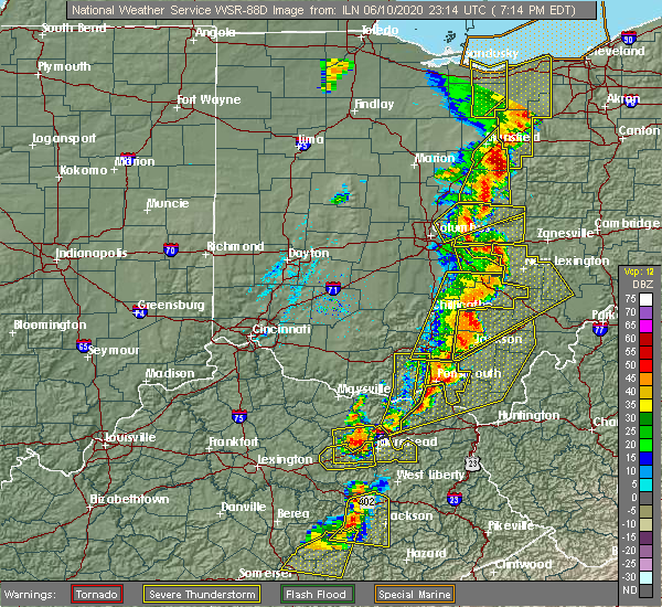 Radar Image for Severe Thunderstorms near Pleasantville, OH at 6/10/2020 7:16 PM EDT