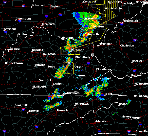 Radar Image for Severe Thunderstorms near Morehead, KY at 6/10/2020 7:24 PM EDT