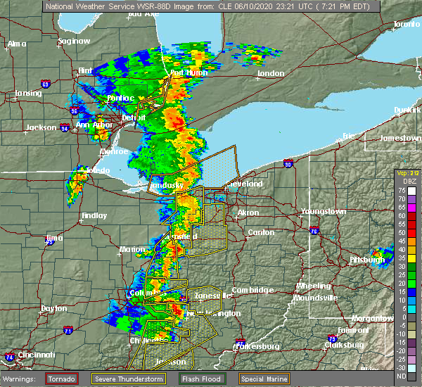Radar Image for Severe Thunderstorms near Oberlin, OH at 6/10/2020 7:28 PM EDT