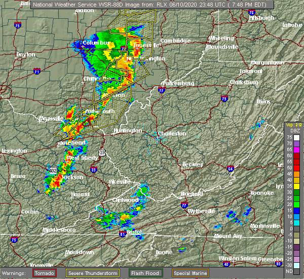 Radar Image for Severe Thunderstorms near West Portsmouth, OH at 6/10/2020 7:53 PM EDT