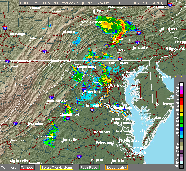 Radar Image for Severe Thunderstorms near Scaggsville, MD at 6/10/2020 8:12 PM EDT