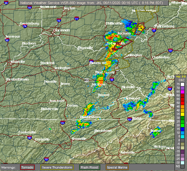 Radar Image for Severe Thunderstorms near Auxier, KY at 6/10/2020 8:20 PM EDT