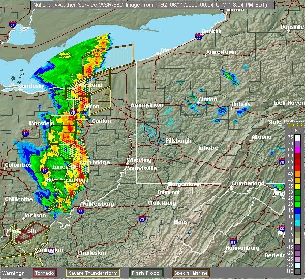 Radar Image for Severe Thunderstorms near Zoar, OH at 6/10/2020 8:27 PM EDT