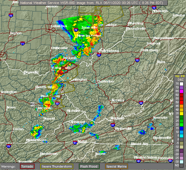 Radar Image for Severe Thunderstorms near Worthington, OH at 6/10/2020 8:27 PM EDT