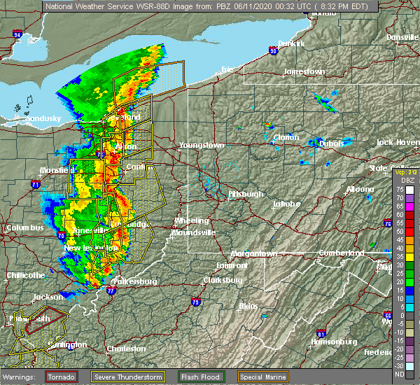 Radar Image for Severe Thunderstorms near Sugarcreek, OH at 6/10/2020 8:39 PM EDT