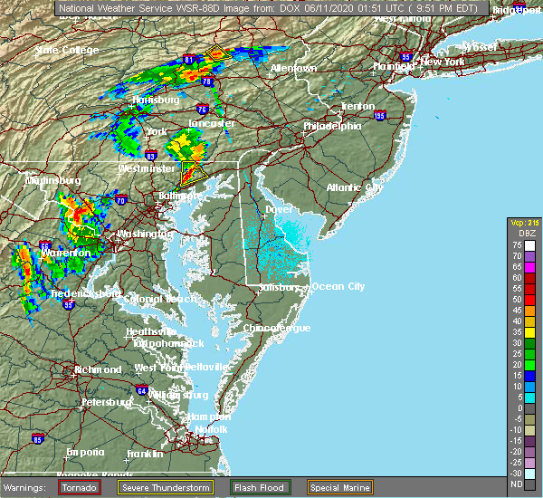 Radar Image for Severe Thunderstorms near Aberdeen, MD at 6/10/2020 9:52 PM EDT