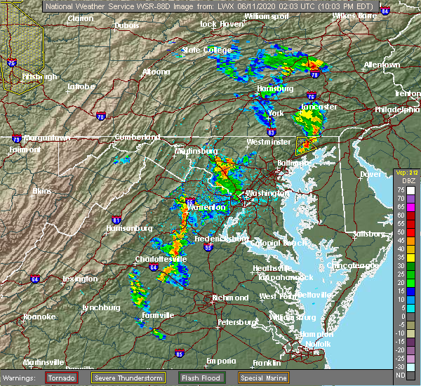 Radar Image for Severe Thunderstorms near Damascus, MD at 6/10/2020 10:09 PM EDT