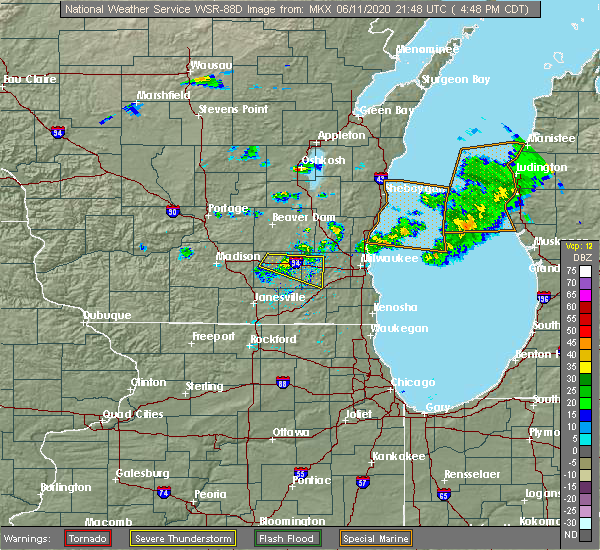 Radar Image for Severe Thunderstorms near Wales, WI at 6/11/2020 4:53 PM CDT