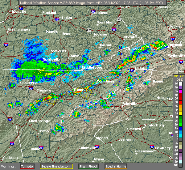Radar Image for Severe Thunderstorms near Midtown, TN at 6/14/2020 1:13 PM EDT