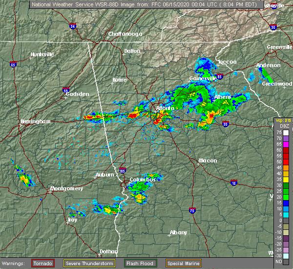 Radar Image for Severe Thunderstorms near Atlanta, GA at 6/14/2020 8:09 PM EDT