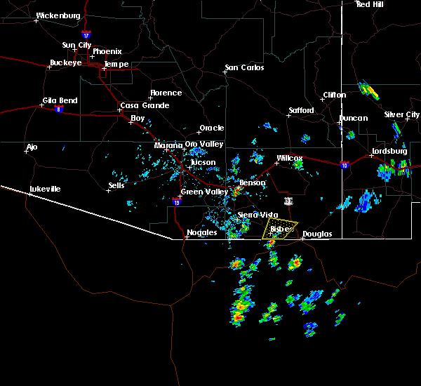 Radar Image for Severe Thunderstorms near Benson, AZ at 6/15/2020 2:07 PM MST