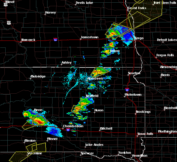 Radar Image for Severe Thunderstorms near Wessington, SD at 6/17/2020 8:43 PM CDT