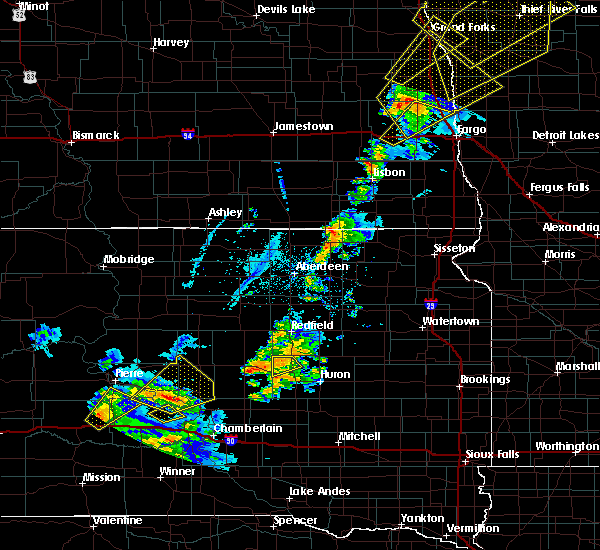 Radar Image for Severe Thunderstorms near Wessington, SD at 6/17/2020 9:26 PM CDT