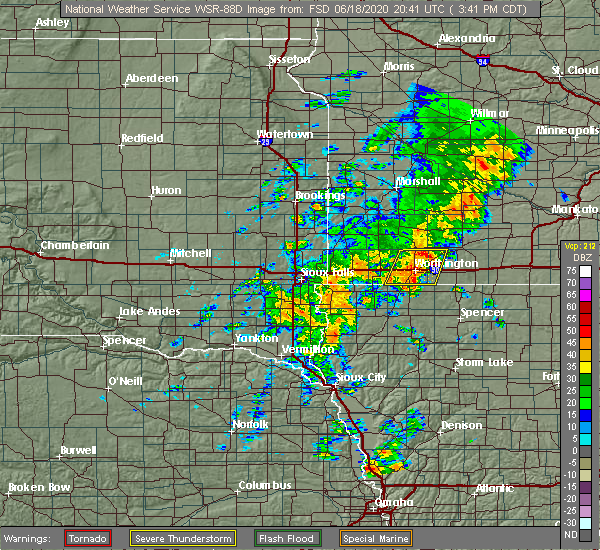 Radar Image for Severe Thunderstorms near Kinbrae, MN at 6/18/2020 3:44 PM CDT