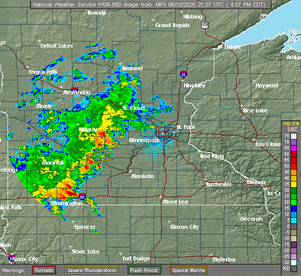 Radar Image for Severe Thunderstorms near Fairfax, MN at 6/18/2020 4:10 PM CDT
