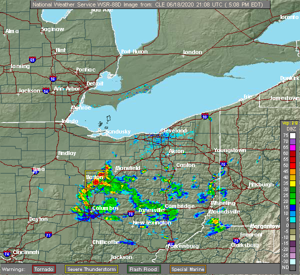 Radar Image for Severe Thunderstorms near Mount Gilead, OH at 6/18/2020 5:10 PM EDT