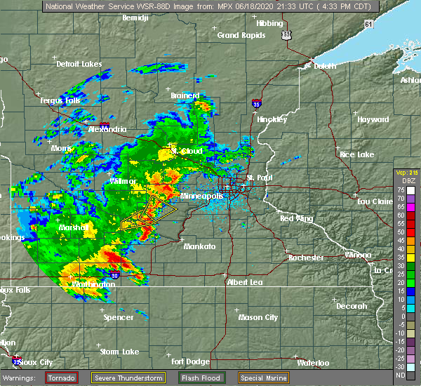 Radar Image for Severe Thunderstorms near Fairfax, MN at 6/18/2020 4:39 PM CDT
