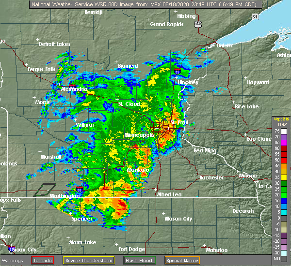 Radar Image for Severe Thunderstorms near Lake Mills, IA at 6/18/2020 6:58 PM CDT