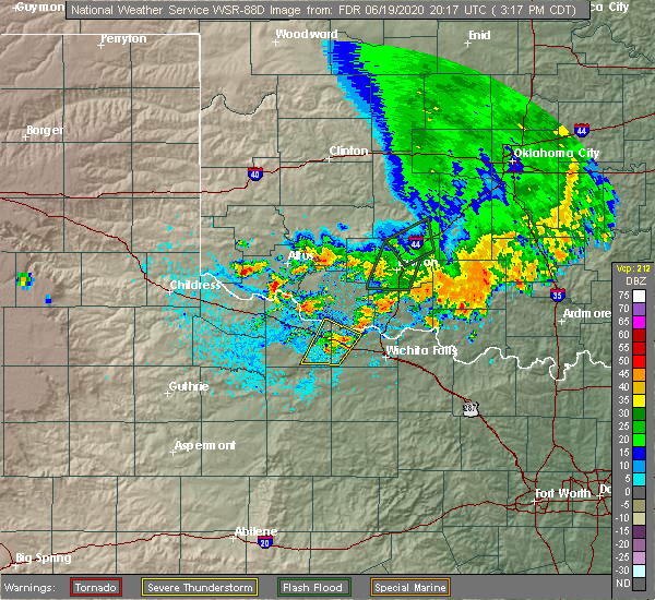 Radar Image for Severe Thunderstorms near Altus, OK at 6/19/2020 3:21 PM CDT