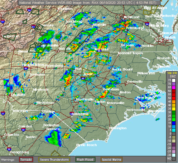 Radar Image for Severe Thunderstorms near Garner, NC at 6/19/2020 5:05 PM EDT