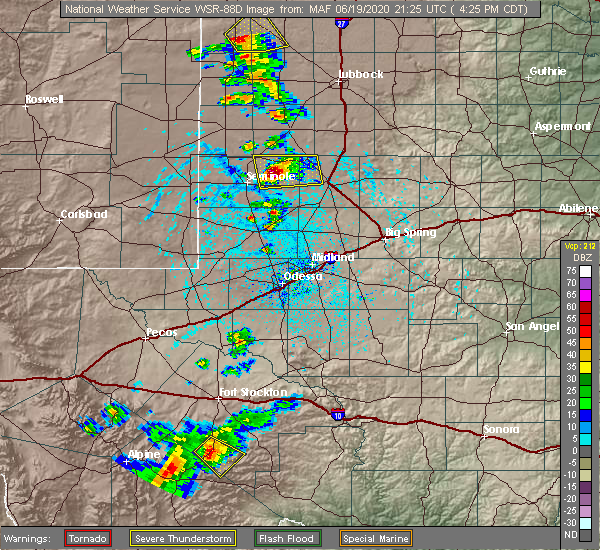 Radar Image for Severe Thunderstorms near Welch, TX at 6/19/2020 4:31 PM CDT