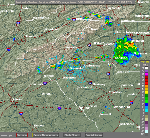 Radar Image for Severe Thunderstorms near Tryon, NC at 6/20/2020 2:55 PM EDT