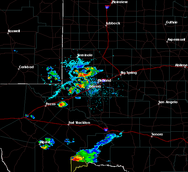 Radar Image for Severe Thunderstorms near Odessa, TX at 6/20/2020 6:14 PM CDT