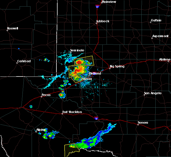 Radar Image for Severe Thunderstorms near Odessa, TX at 6/20/2020 6:41 PM CDT