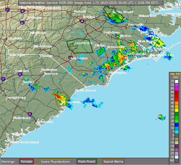 Radar Image for Severe Thunderstorms near Murrells Inlet, SC at 6/20/2020 8:11 PM EDT