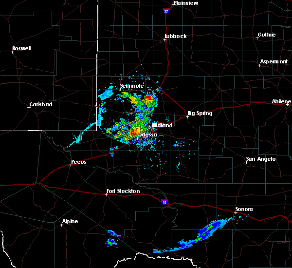 Radar Image for Severe Thunderstorms near Odessa, TX at 6/20/2020 7:37 PM CDT