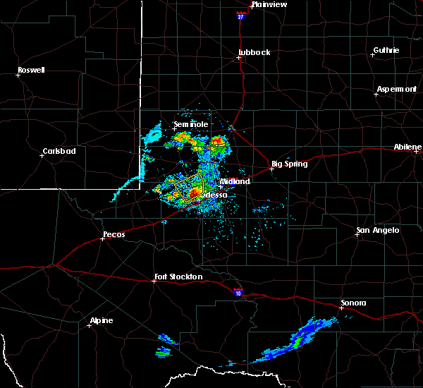 Radar Image for Severe Thunderstorms near Odessa, TX at 6/20/2020 7:42 PM CDT