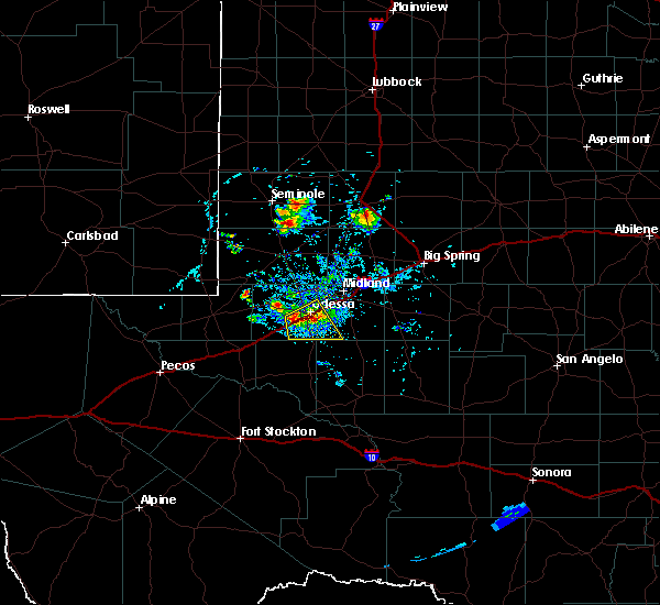 Radar Image for Severe Thunderstorms near Odessa, TX at 6/20/2020 8:08 PM CDT