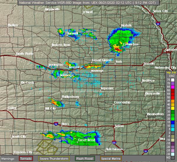 Radar Image for Severe Thunderstorms near Wood River, NE at 6/20/2020 9:24 PM CDT