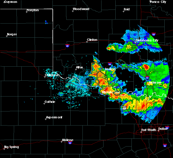 Radar Image for Severe Thunderstorms near Chattanooga, OK at 6/21/2020 7:20 AM CDT