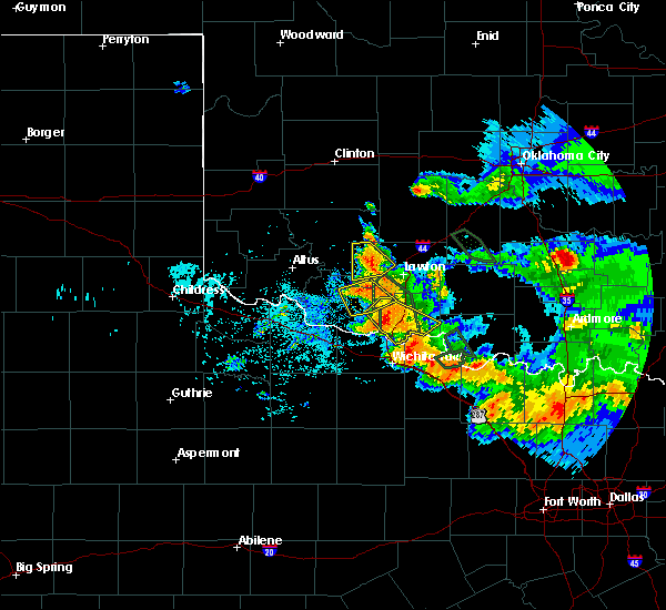 Radar Image for Severe Thunderstorms near Iowa Park, TX at 6/21/2020 7:26 AM CDT