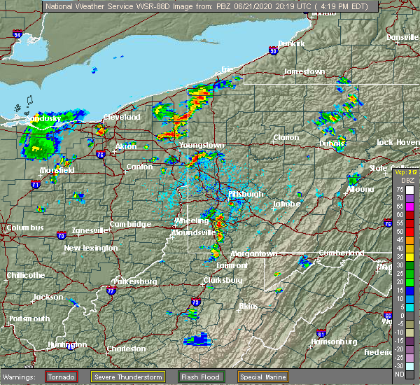 Radar Image for Severe Thunderstorms near Cokeburg, PA at 6/21/2020 4:24 PM EDT