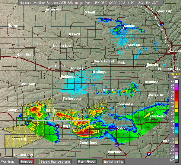 Radar Image for Severe Thunderstorms near Alton, KS at 6/21/2020 3:35 PM CDT