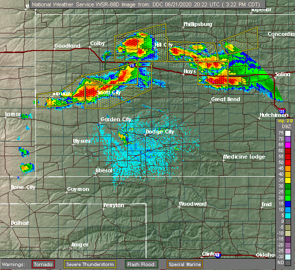 Radar Image for Severe Thunderstorms near Ingalls, KS at 6/21/2020 3:38 PM CDT