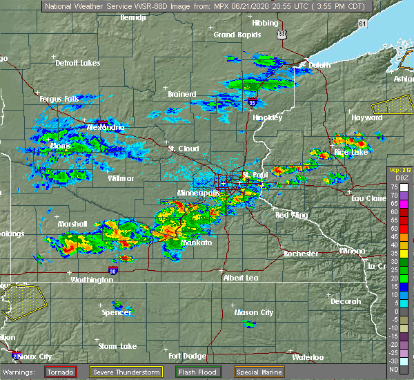 Radar Image for Severe Thunderstorms near St. James, MN at 6/21/2020 4:02 PM CDT