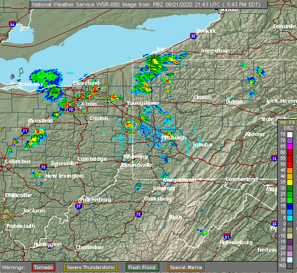 Radar Image for Severe Thunderstorms near East Palestine, OH at 6/21/2020 5:47 PM EDT