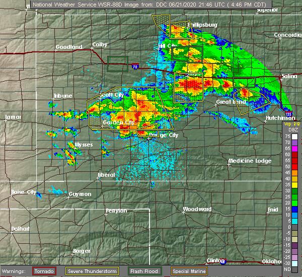 Radar Image for Severe Thunderstorms near Odin, KS at 6/21/2020 4:51 PM CDT