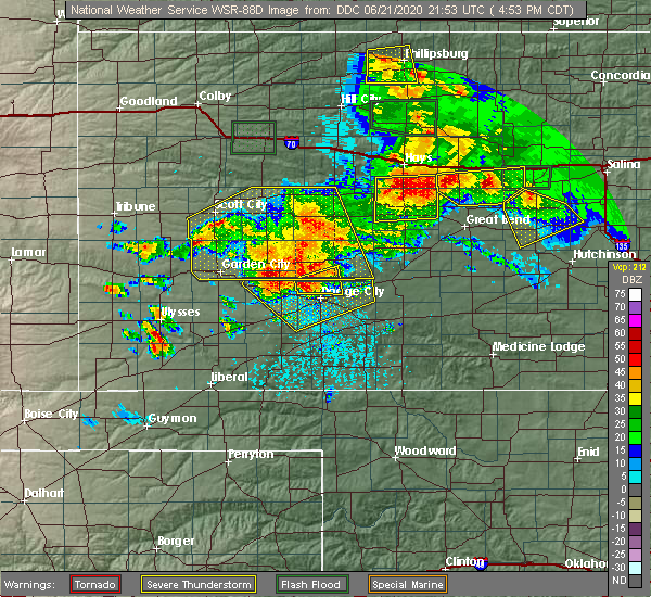 Radar Image for Severe Thunderstorms near Spearville, KS at 6/21/2020 4:55 PM CDT