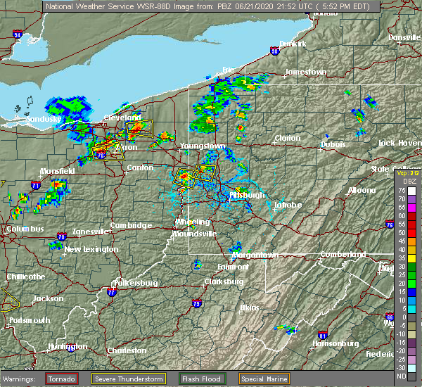 Radar Image for Severe Thunderstorms near East Palestine, OH at 6/21/2020 5:57 PM EDT