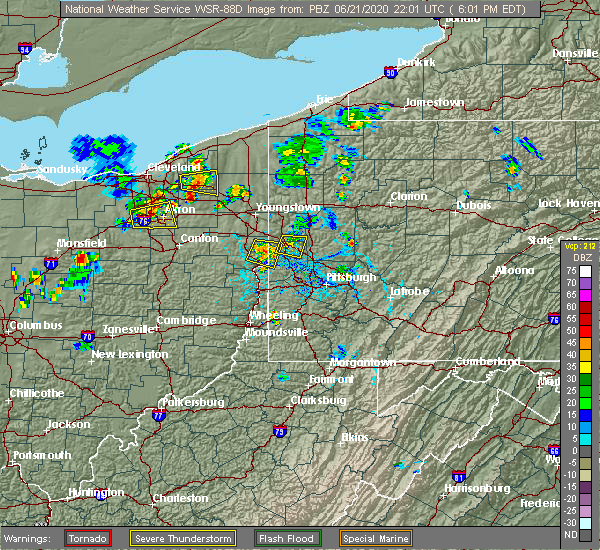 Radar Image for Severe Thunderstorms near Wampum, PA at 6/21/2020 6:11 PM EDT