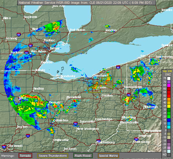 Radar Image for Severe Thunderstorms near Montrose-Ghent, OH at 6/21/2020 6:14 PM EDT