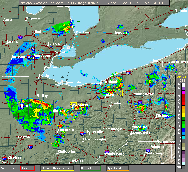 Radar Image for Severe Thunderstorms near South Canal, OH at 6/21/2020 6:36 PM EDT